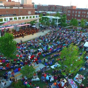 Aerial shot of Guthrie Green Symphony in the Park2